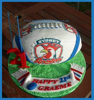 Sydney Roosters Rugby Ball Cake - Cake by Mel_SugarandSpiceCakes