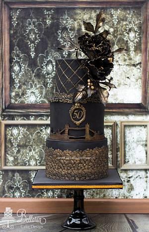 Black and bronze London themed birthday cake - Cake by Bellaria Cake Design