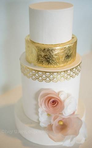 Signature wafer paper flowers with classic gold leaf  - Cake by Stevi Auble