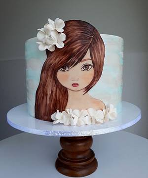 Painted girl - Cake by Couture cakes by Olga