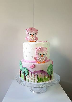 Owls with 2 flowers for 2 candles on top - Cake by Frufi