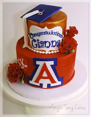 University of Arizona Graduation with Roses - Cake by lorieleann