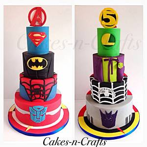 Double sided superhero... The good v bad!  - Cake by June milne