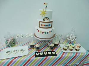Rainbow theme dessert table  - Cake by Clairey's Cakery