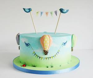 Bunting, Balloons & Birds - Cake by Baked4U