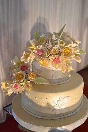 """""""Gardenia"""" A two tier simple golden wedding cake  - Cake by Sheela"""