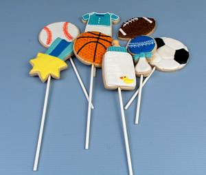Sport Themed Baby Shower Cookie Pops - Cake by Prima Cakes and Cookies - Jennifer