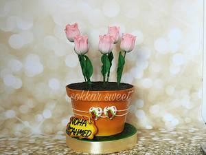 flower pot cake - Cake by dina sokker