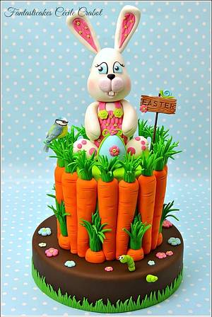 Easter Bunny and Carrots Cake  - Cake by Cecile Crabot