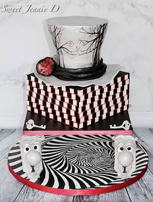 Falling to Wonderland - Optical Illusion Collaboration - Cake by Jennifer Kennedy O'Friel - Sweet JennieD