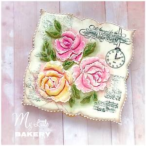 """Vintage roses cookie card - Cake by Nadia """"My Little Bakery"""""""