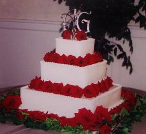 Square red rose wedding cake Buttercream - Cake by Nancys Fancys Cakes & Catering (Nancy Goolsby)
