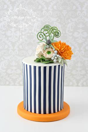 Stripes and blossoms ~ cake - Cake by Little Apple Cakes