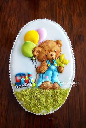 Little Kai likes..... cookies, trains, teddy bears and balloons! - Cake by The Cookie Lab  by Marta Torres