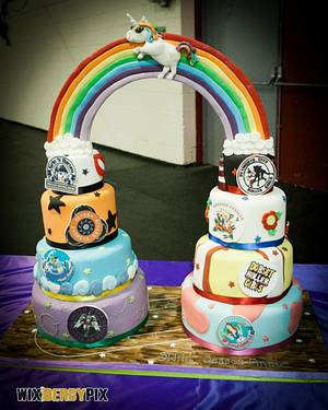 Roller derby rainbow! - Cake by The Cake Lady