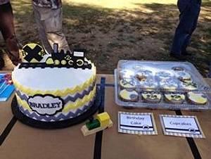 Chevron & Train Birthday Cake - Cake by The Ruffled Crumb
