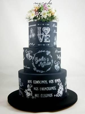Wedding blackboard cake - Cake by Natalia Casaballe