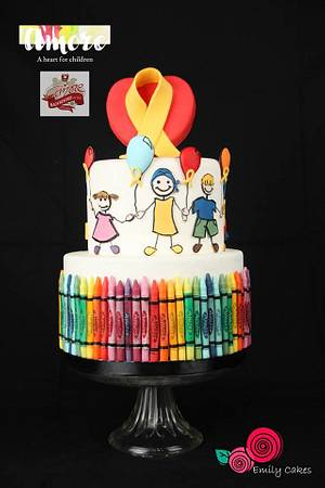 Crayons with Love - Collaboration Amore - a heart for children - Cake by Emily Calvo