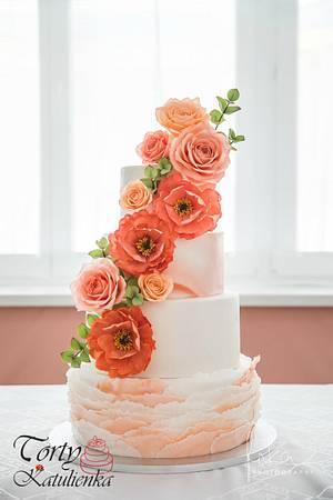 Peach Wedding Cake - Cake by Torty Katulienka