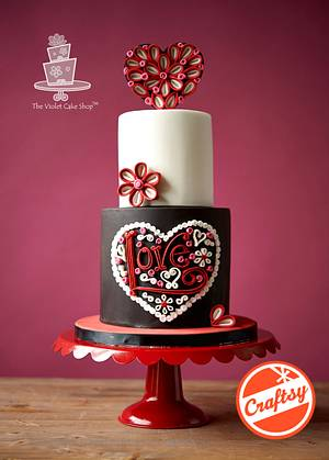 QUILLING - MODERN LOVE Heart Cake - Cake by Violet - The Violet Cake Shop™