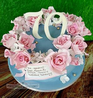 Patricia - 70th Birthday Roses Cake  - Cake by Niamh Geraghty, Perfectionist Confectionist