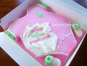 Pink and Green Polo Onesie cake - Cake by DeliciousDeliveries