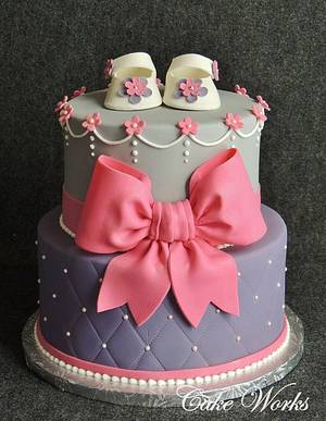 Hot Pink and Purple Baby Shower - Cake by Alisa Seidling