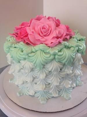 Rococo Rose Mint Pink Cake - Cake by Joliez