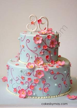 Cherry Blossoms Birthday Celebration - Cake by Cakes by Maylene