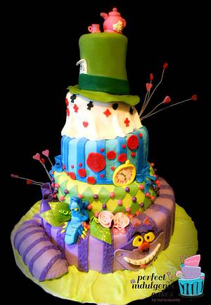 Alice in Wonderland Sweet 16 - Cake by Maria Cazarez Cakes and Sugar Art