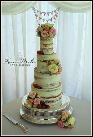 Semi naked wedding cake with fresh flowers - Cake by CupcakesbyLouise