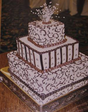 Brown buttercream scrollwork wedding cake - Cake by Nancys Fancys Cakes & Catering (Nancy Goolsby)