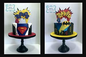 Superhero twins!!  - Cake by Lori Mahoney (Lori's Custom Cakes)