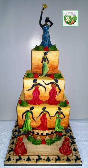 9 ladies dancing ,On the 9th day of Christmas. .. - Cake by AWG Hobby Cakes