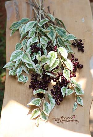 Sugar Ficus leaves and Berries - Cake by Sweet Symphony