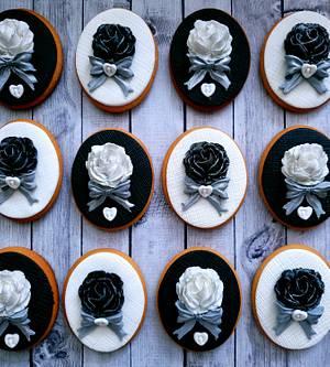Black & White roses  - Cake by DI ART