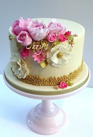 Elegant Pink and Gold Birthday - Cake by The Rosehip Bakery