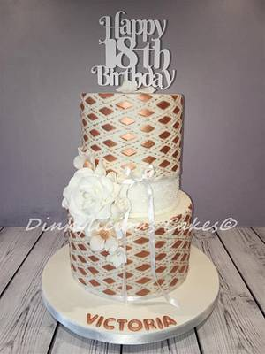 Rose gold and white 18th birthday cake - Cake by Dinkylicious Cakes