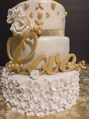 White & Gold Wedding Cake - Cake by Maritza's Sugar Creation