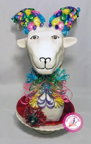Rambert, the Filigree Goat - Chinese New Year (2015) Year of the Goat - Cake by Becca's Edible Art