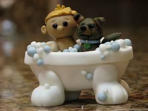 Boy & Puppy Bath Time - Cake by SarahBeth3