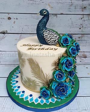 Peacock and roses  - Cake by Natasha Rice Cakes