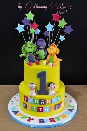 Barney and Twins - Cake by Mommy Sue