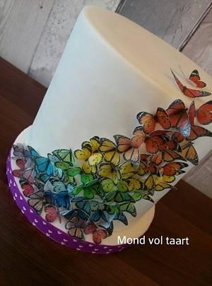 Rainbow ricepaper butterfly cake - Cake by Mond vol taart