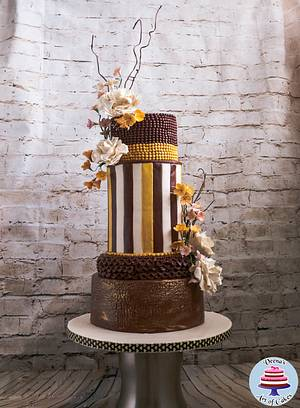 Burgundy and Gold Wedding - Cake by Veenas Art of Cakes