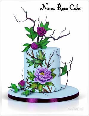 Handpainted purple peony  - Cake by Nana Rose Cake