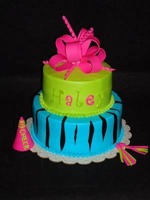 Bright Cheerleader Zebra Cake - Cake by Kim Leatherwood