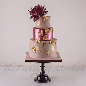 Suede, shimmering marsala and antiqued gold wedding cake - Cake by Enchanting Merchant Company