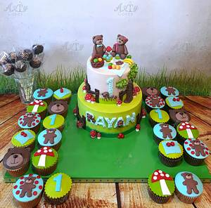 Teddy bears' picnic cake and cupcakes   - Cake by Arty cakes