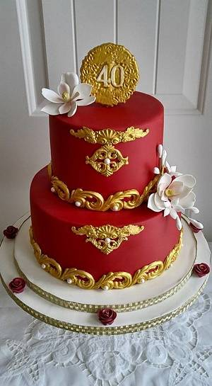 RUBY RED 40TH. ANNIVERSARY - Cake by Enza - Sweet-E
